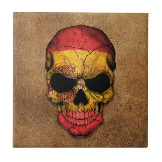 Cráneo español envejecido y llevado de la bandera azulejo ceramica