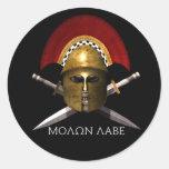 Cráneo espartano de Molon Labe Etiqueta Redonda