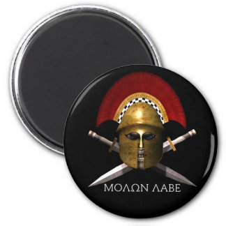Cráneo espartano de Molon Labe Imán Redondo 5 Cm