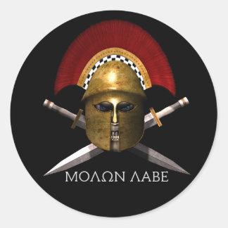 Cráneo espartano de Molon Labe Pegatina Redonda