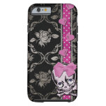 Cráneo espeluznante del chica con el arco rosado funda para iPhone 6 tough