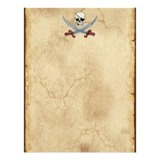 Cráneo espeluznante del pirata y machetes cruzados membrete