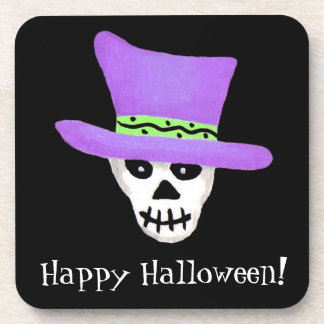 Cráneo esquelético banal del feliz Halloween negro Posavasos De Bebidas