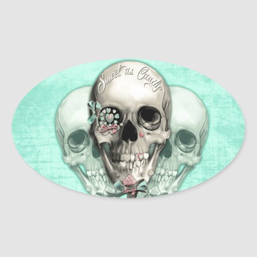 Cráneo eternamente dulce del lollipop pegatina ovalada