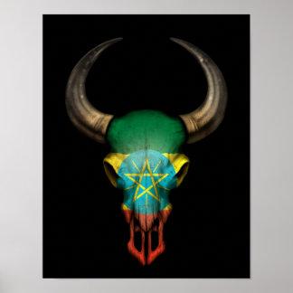 Cráneo etíope de Bull de la bandera en negro Impresiones