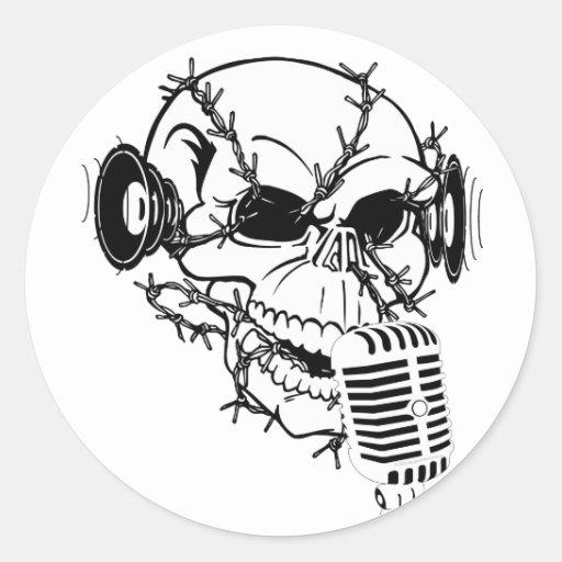 Cráneo Etiqueta Redonda