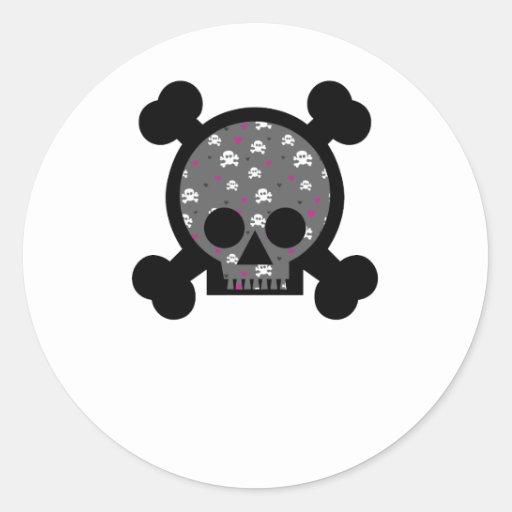 Cráneo Etiquetas Redondas