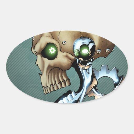 Cráneo extranjero del robot a partir del futuro en pegatina ovalada