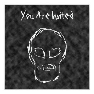 """Cráneo extraño. Blanco. Bosquejo Invitación 5.25"""" X 5.25"""""""