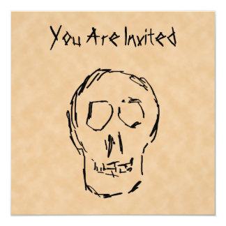 """Cráneo extraño. Negro. Bosquejo Invitación 5.25"""" X 5.25"""""""