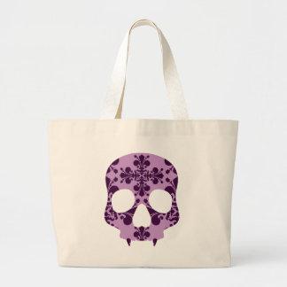 Cráneo fanged damasco púrpura punky bolsa de tela grande