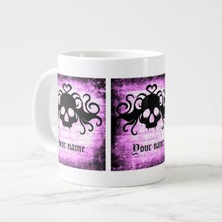 Cráneo fanged romántico gótico taza de café grande