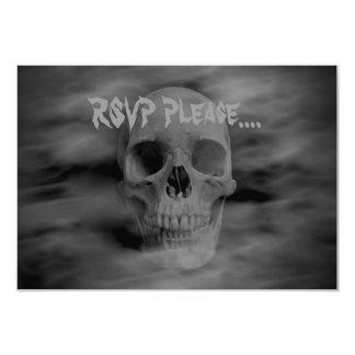 """Cráneo fantasmal RSVP del horror de Halloween Invitación 3.5"""" X 5"""""""