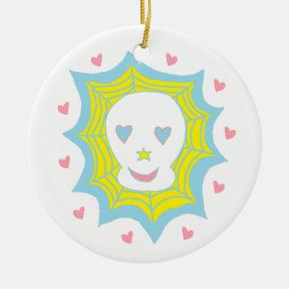 Cráneo feliz del amor ornamentos de navidad