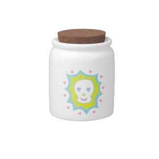 Cráneo feliz del amor jarra para caramelo