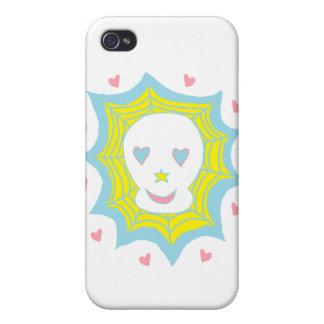Cráneo feliz del amor iPhone 4 fundas