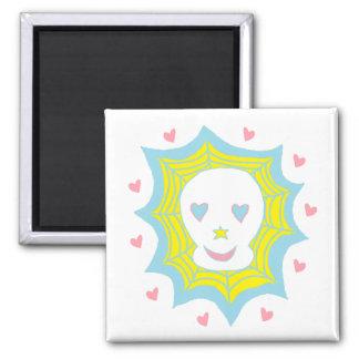 Cráneo feliz del amor iman de frigorífico