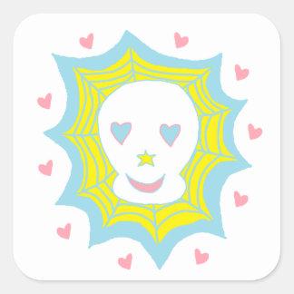 Cráneo feliz del amor calcomania cuadrada personalizada