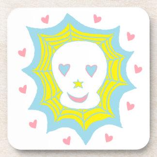 Cráneo feliz del amor posavaso