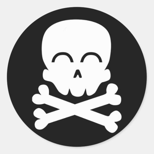 Cráneo feliz pegatinas redondas