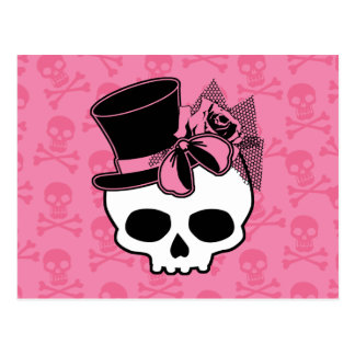 Cráneo femenino con el gorra y el arco rosado tarjeta postal