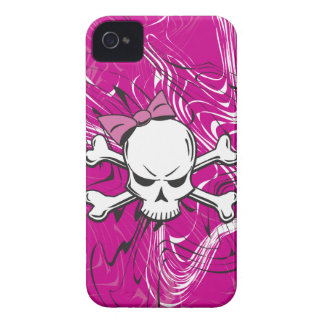 Cráneo femenino del gótico con el arco rosado iPhone 4 Case-Mate protector