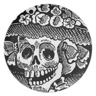 Cráneo femenino José esquelético Posada del detall Plato Para Fiesta