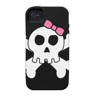 Cráneo femenino lindo asustadizo y huesos cruzados vibe iPhone 4 fundas
