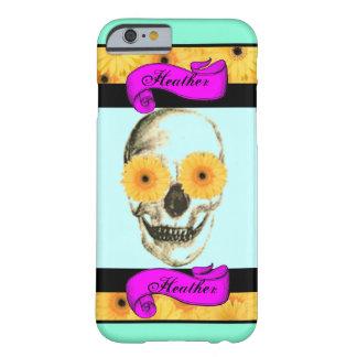 Cráneo femenino personalizado funda de iPhone 6 barely there