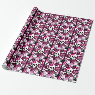 Cráneo femenino punky rosado papel de regalo