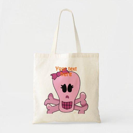 Cráneo femenino rosado con el arco Halloween o el