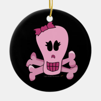 Cráneo femenino rosado con el arco Halloween o el Adorno Redondo De Cerámica