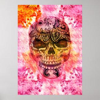 cráneo femenino rosado en fondo del houndstooth póster