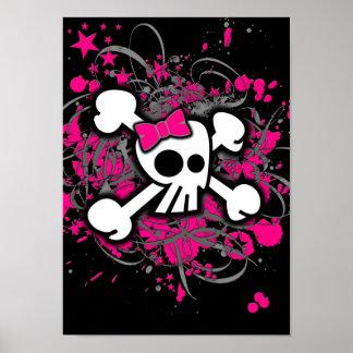 Cráneo femenino y bandera pirata póster