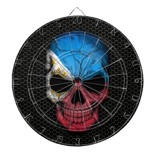 Cráneo filipino de la bandera en el gráfico de ace tablero de dardos