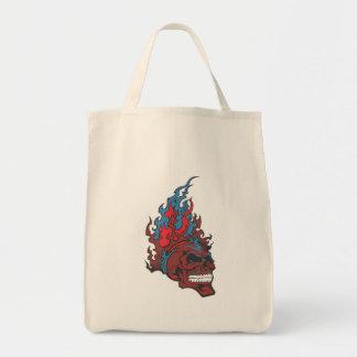 Cráneo flameado del tatuaje del fuego bolsa tela para la compra