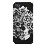 Cráneo floral blanco y negro iPhone 5 protectores