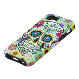 Cráneo floral colorido 3 del azúcar y diamantes iPhone 5 carcasa