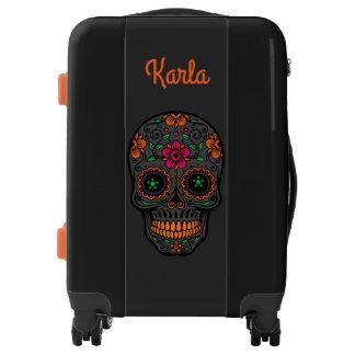 Cráneo floral colorido con el monograma de encargo maletas