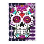 Cráneo floral colorido del azúcar impresión en lienzo estirada