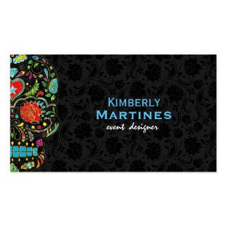 Cráneo floral colorido del azúcar y damascos tarjetas de visita