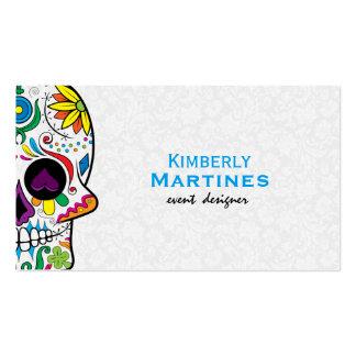 Cráneo floral colorido y damascos blancos 2 del tarjetas de visita