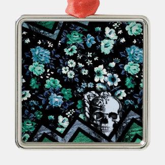 Cráneo floral de Chevron en trullo y negro