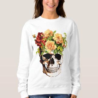 cráneo floral de moda playeras