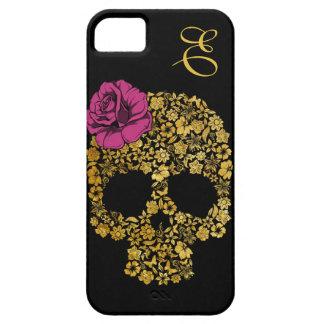 Cráneo floral de oro con la caja color de rosa del iPhone 5 fundas