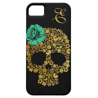 Cráneo floral de oro con la caja color de rosa del iPhone 5 protector