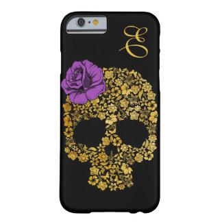 Cráneo floral de oro con la caja color de rosa del funda de iPhone 6 barely there