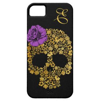 Cráneo floral de oro con la caja color de rosa del iPhone 5 Case-Mate carcasa