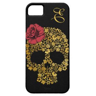 Cráneo floral de oro con la caja color de rosa del iPhone 5 Case-Mate protectores