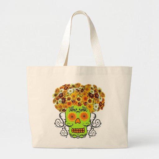 Cráneo floral del azúcar bolsa tela grande